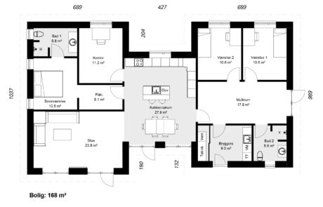 skitse af hus